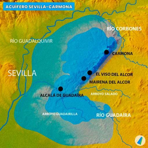 Acuífero Sevilla-Carmona. Resaltada la permeabilidad de Los Alcores.