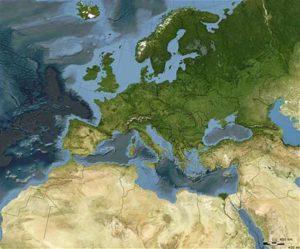 Animación de la evolución paleogeográfica de Europa. Marca de Los Alcores, el cuadradito rojo - [IMG: Ron Blakey]